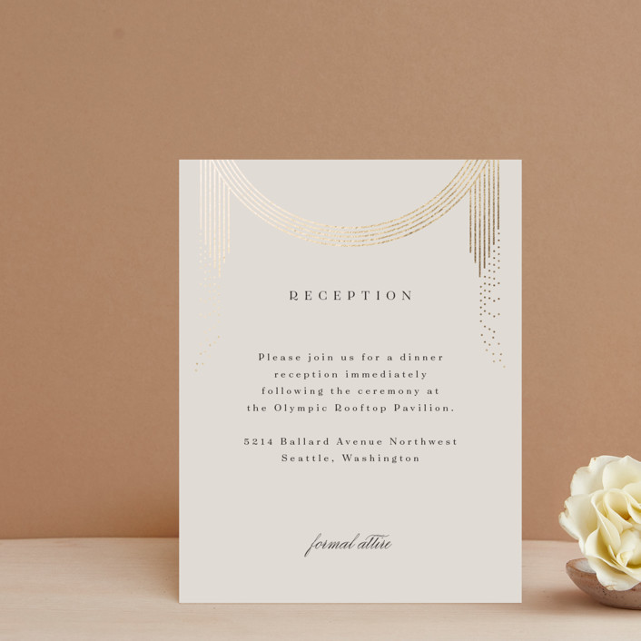 """""""Sparkling Arches"""" - Vintage Foil-pressed Reception Cards in Champagne by Corinne Malesic."""