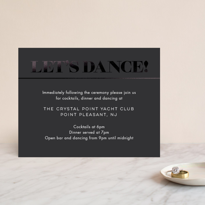 """Smash the Glass"" - Foil-pressed Reception Cards in Tuxedo by Laura Bolter."