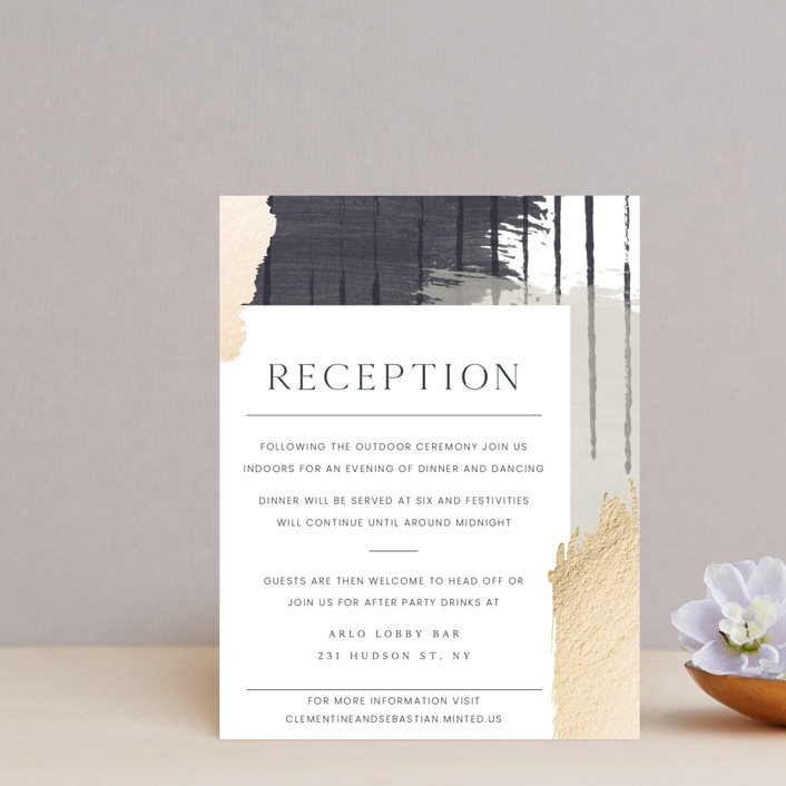 """Textural"" - Modern Foil-pressed Reception Cards in Forest Walks by Blustery August."