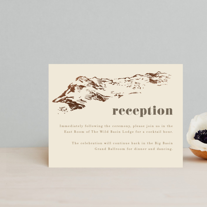 """""""Mountain Side Sketch"""" - Foil-pressed Reception Cards in Cream by Jessie Steury."""