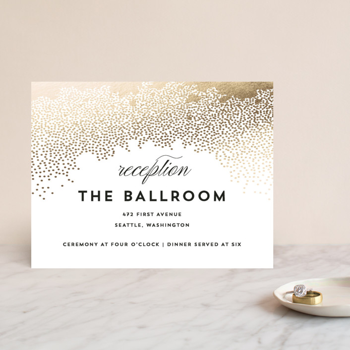 """""""Sparkling Celebration"""" - Foil-pressed Reception Cards in Gold by AK Graphics."""