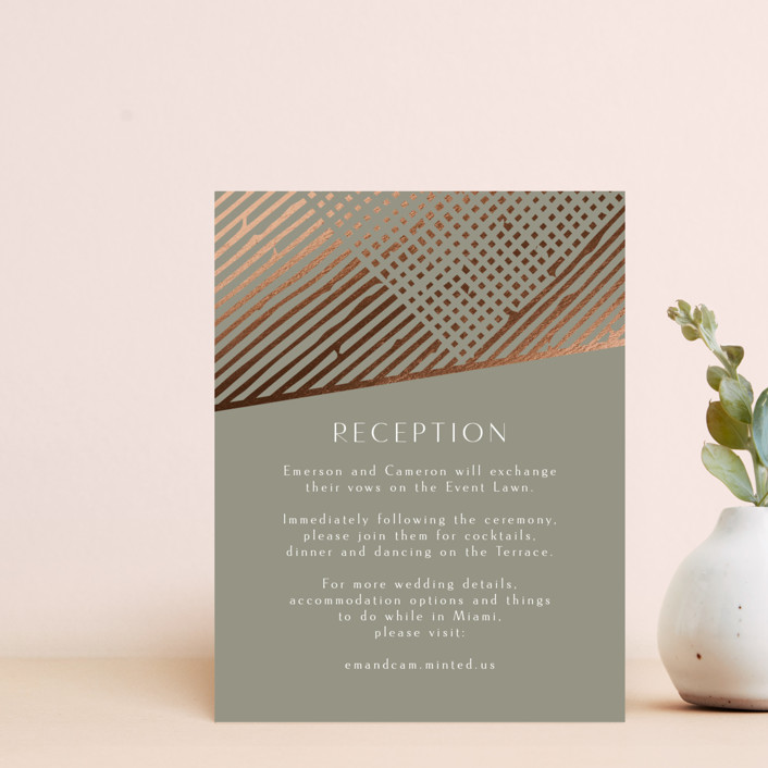 """""""Wedding Lines"""" - Bohemian Foil-pressed Reception Cards in Putty by Chris Griffith."""