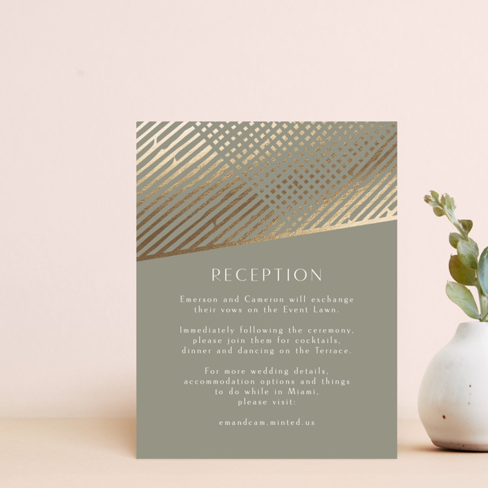 """Wedding Lines"" - Bohemian Foil-pressed Reception Cards in Putty by Chris Griffith."