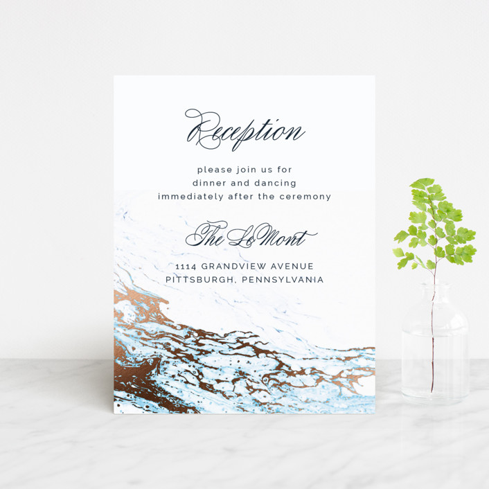"""Classic Splash"" - Foil-pressed Reception Cards in Navy by kbecca."