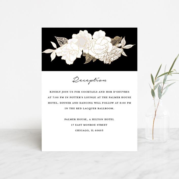 """Mod Kimono"" - Foil-pressed Reception Cards in Ebony by Kaydi Bishop."