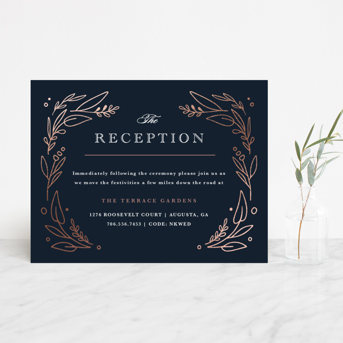 """""""Entwined"""" - Foil-pressed Reception Cards in Navy by Kristen Smith."""