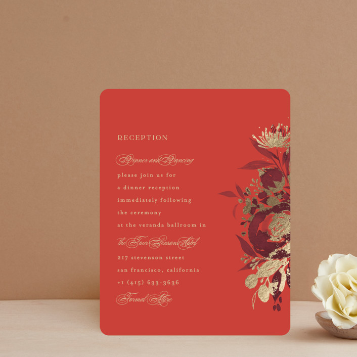 """""""Happiness"""" - Foil-pressed Reception Cards in Cherry by Shannon Chen."""