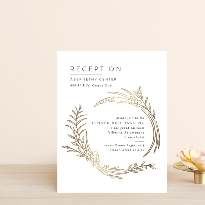 """""""Delicate Woodland"""" - Foil-pressed Reception Cards in Silk by Shiny Penny Studio."""