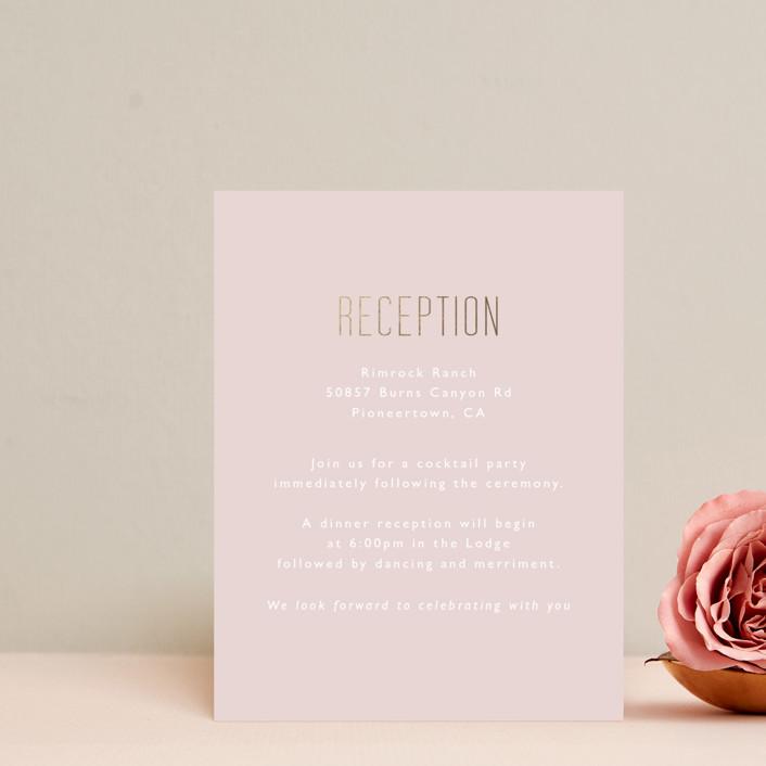 """desert dream"" - Foil-pressed Reception Cards in Desert by Caitlin Considine."