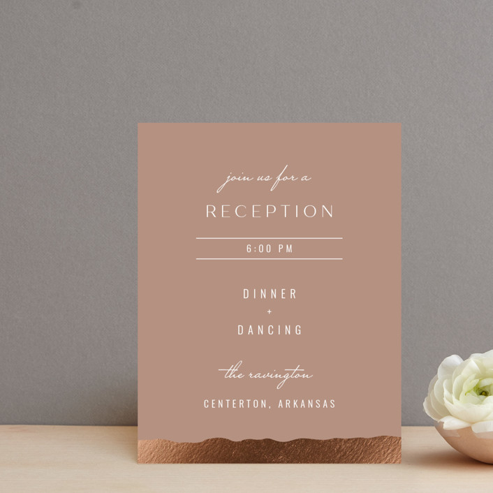 """""""Eternal Love"""" - Foil-pressed Reception Cards in Rose Dust by Bliss Design Studio."""