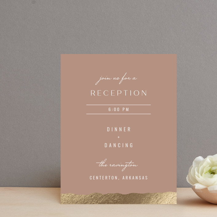 """Eternal Love"" - Foil-pressed Reception Cards in Rose Dust by Bliss Design Studio."
