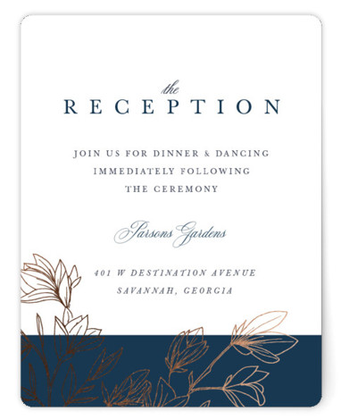This is a portrait botanical, rustic, blue Reception Cards by Kate Ahn called Graceful with Foil Pressed printing on Signature in Card Flat Card format. This wedding invitation features hand drawn flowering branches framing classic type in a neutral color ...