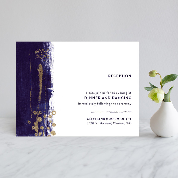 """""""Painted Canvas"""" - Modern Foil-pressed Reception Cards in Sapphire by Robin Ott."""