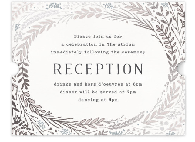 This is a landscape floral, hand drawn, metallic, rustic, silver Reception Cards by Hooray Creative called Rustic Wreath with Foil Pressed printing on Signature in Card Flat Card format. A rustic wreath in an autumn color palette – perfect for ...