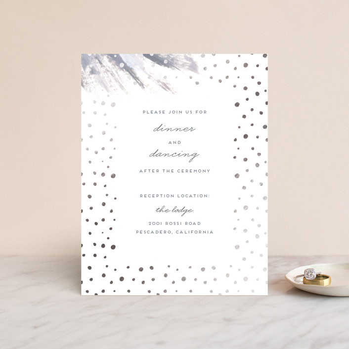 """Shimmering Statement"" - Bohemian Foil-pressed Reception Cards in Dove by Simona Camp."