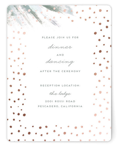 This is a portrait bohemian, painterly, green Reception Cards by Simona Camp called Shimmering Statement with Foil Pressed printing on Signature in Card Flat Card format. This non photo wedding invitation design features a hand painted feathered background and shimmering ...