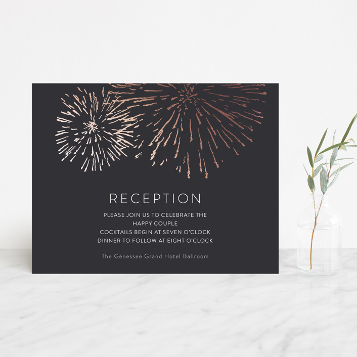 """Sparks"" - Whimsical & Funny Foil-pressed Reception Cards in Rose Gold by R studio."