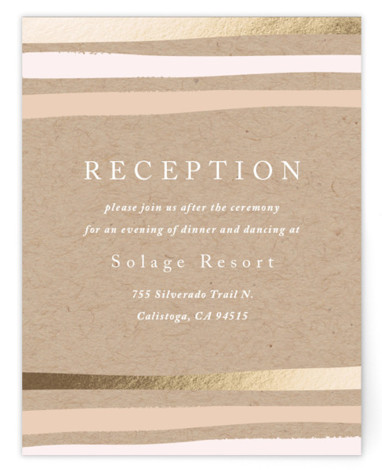This is a portrait bohemian, modern, pink, brown Reception Cards by Carolyn MacLaren called Striped Love with Foil Pressed printing on Signature in Card Flat Card format. Bold, organic stripes in a mix of colors and foil.