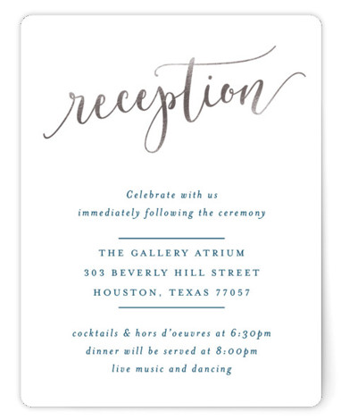 This is a portrait classical, elegant, hand drawn, metallic, modern, whimsical, silver Reception Cards by Hooray Creative called Celebration Script with Foil Pressed printing on Signature in Card Flat Card format. Gold script and elegant type.