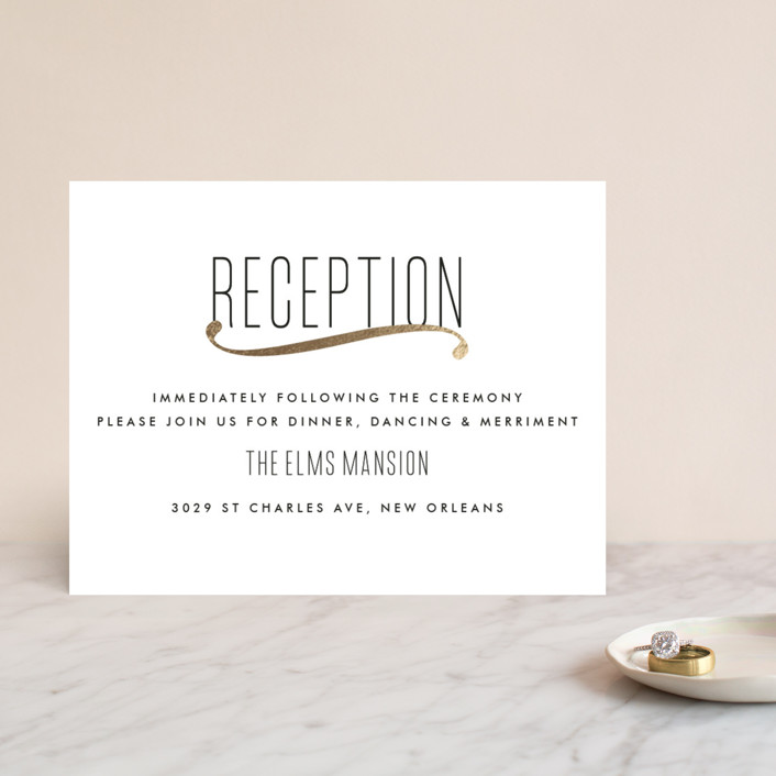 """Connected"" - Simple, Modern Foil-pressed Reception Cards in Gold by Tim St. Clair."