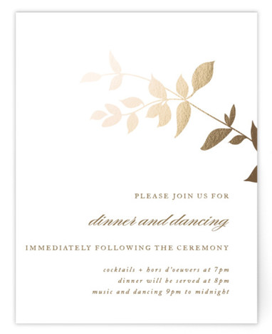 This is a portrait botanical, gold Reception Cards by Jennifer Postorino called Daydream with Foil Pressed printing on Signature in Card Flat Card format. This elegant offset wedding invitation features a whimsical branch and sophisticated topography.
