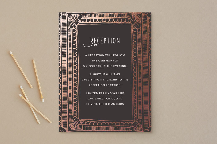 """""""Deco Border"""" - Vintage, Bohemian Foil-pressed Reception Cards in Slate by Katharine Watson."""