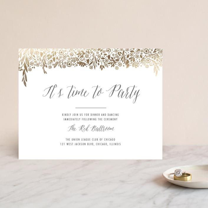 """""""Elegant Floral Garland"""" - Rustic, Floral & Botanical Foil-pressed Reception Cards in Gold by Erin Deegan."""