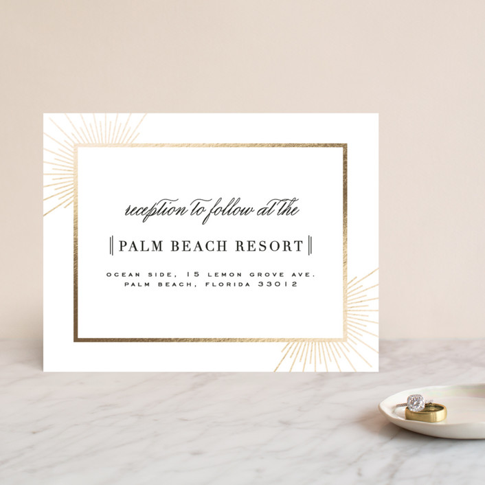 """Elegant Type"" - Elegant, Classical Foil-pressed Reception Cards in Tuxedo by Julia Hall."