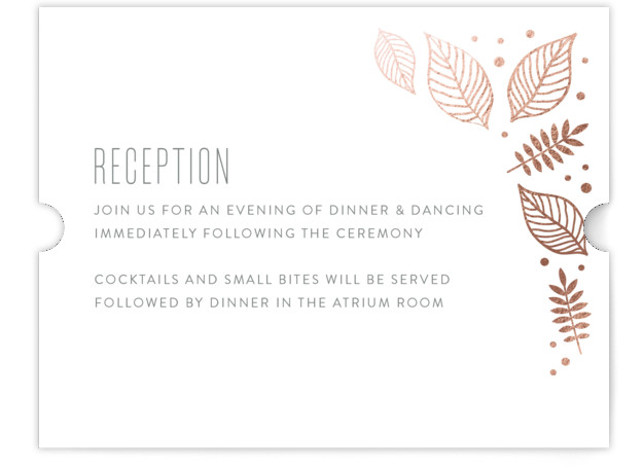 This is a landscape botanical, green Reception Cards by Smudge Design called Eternal Autumn with Foil Pressed printing on Signature in Card Flat Card format. These boldly illustrated leaves and foliage give your fall wedding a festive feel.