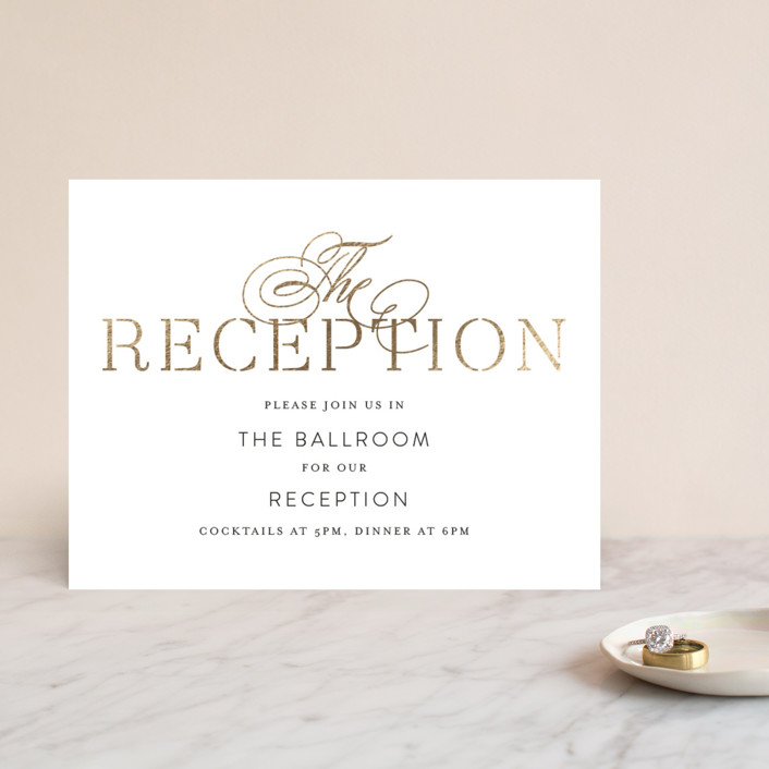 """Formal Celebration"" - Elegant, Formal Foil-pressed Reception Cards in Gold by Phrosne Ras."