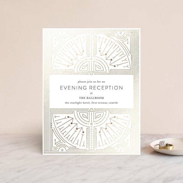 """Gatsby Frame"" - Vintage Foil-pressed Reception Cards in Gold by Phrosne Ras."