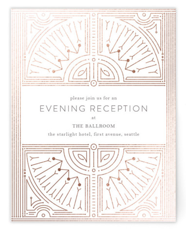 This is a portrait vintage, rosegold Reception Cards by Phrosne Ras called Gatsby Frame with Foil Pressed printing on Signature in Card Flat Card format. An intricate decorative design, industrial style