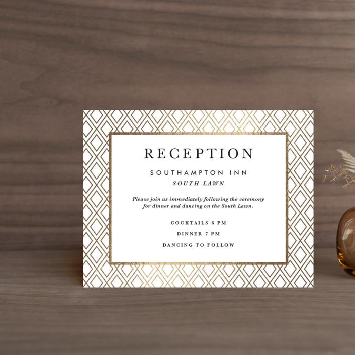 """Gilded Bloom"" - Foil-pressed Reception Cards in Gold by Christie Kelly."