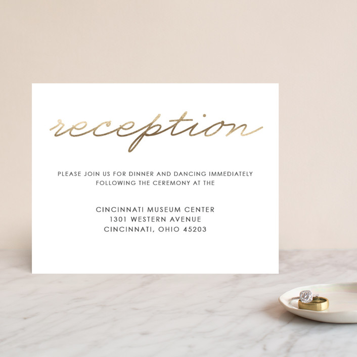 """""""Love Lasso"""" - Modern, Simple Foil-pressed Reception Cards in Gold by Kim Dietrich Elam."""