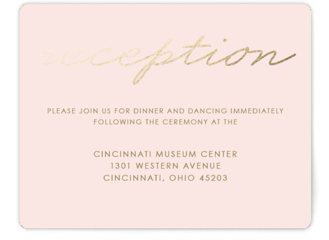 This is a landscape classical, metallic, modern, simple, pink, white, gold Reception Cards by Kim Dietrich Elam called Love Lasso with Foil Pressed printing on Signature in Card Flat Card format. Minimal, type based design.