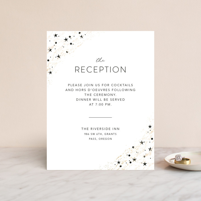 """star stream"" - Modern Foil-pressed Reception Cards in Sugar by Cass Loh."