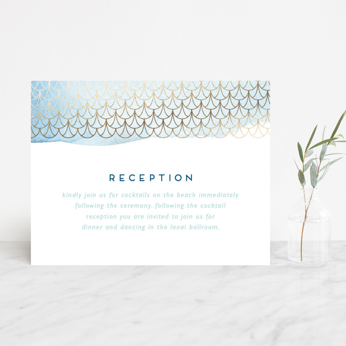 """Sea Crest"" - Modern Foil-pressed Reception Cards in Turquoise by Kaydi Bishop."