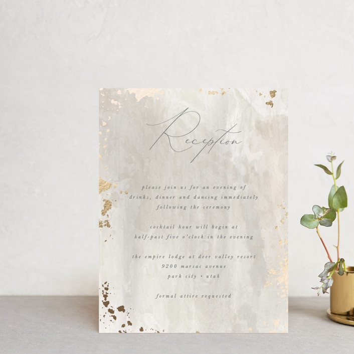 """""""Fresco"""" - Bohemian Foil-pressed Reception Cards in Plaster by Robert and Stella."""