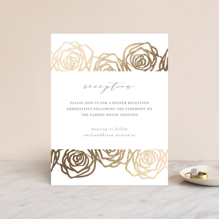 """""""Rose Box"""" - Foil-pressed Reception Cards in Warm Gray by Melinda Denison."""