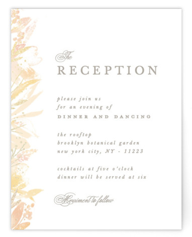 This is a portrait botanical, painterly, rustic, orange Reception Cards by Creo Study called Blooming border with Foil Pressed printing on Signature in Card Flat Card format. An ethereal frame of watercolor florals and foiled accents make beautiful garden wedding ...