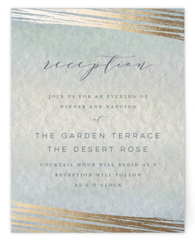 This is a blue, gold Reception Cards by Grace Kreinbrink called Mood with Foil Pressed printing on Signature in Card Flat Card format. Delicate, soft, classic wedding invitation featuring muted and moody watercolor backdrop and a soft overlay of abstract ...