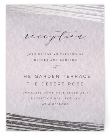 This is a purple, silver Reception Cards by Grace Kreinbrink called Mood with Foil Pressed printing on Signature in Card Flat Card format. Delicate, soft, classic wedding invitation featuring muted and moody watercolor backdrop and a soft overlay of abstract ...