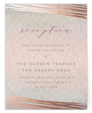 This is a pink, rosegold Reception Cards by Grace Kreinbrink called Mood with Foil Pressed printing on Signature in Card Flat Card format. Delicate, soft, classic wedding invitation featuring muted and moody watercolor backdrop and a soft overlay of abstract ...