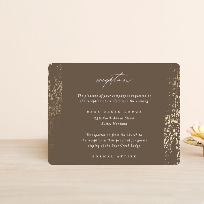 """Rustic Dream"" - Foil-pressed Reception Cards in Quartz by Beth Murphy."