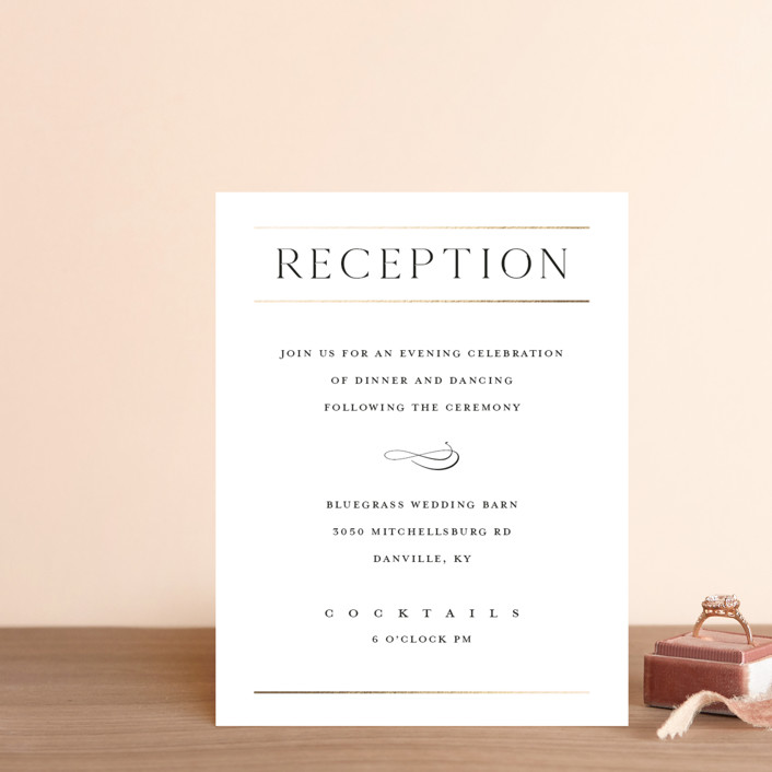 """""""Heard the news"""" - Foil-pressed Reception Cards in Cotton by Stacey Meacham."""