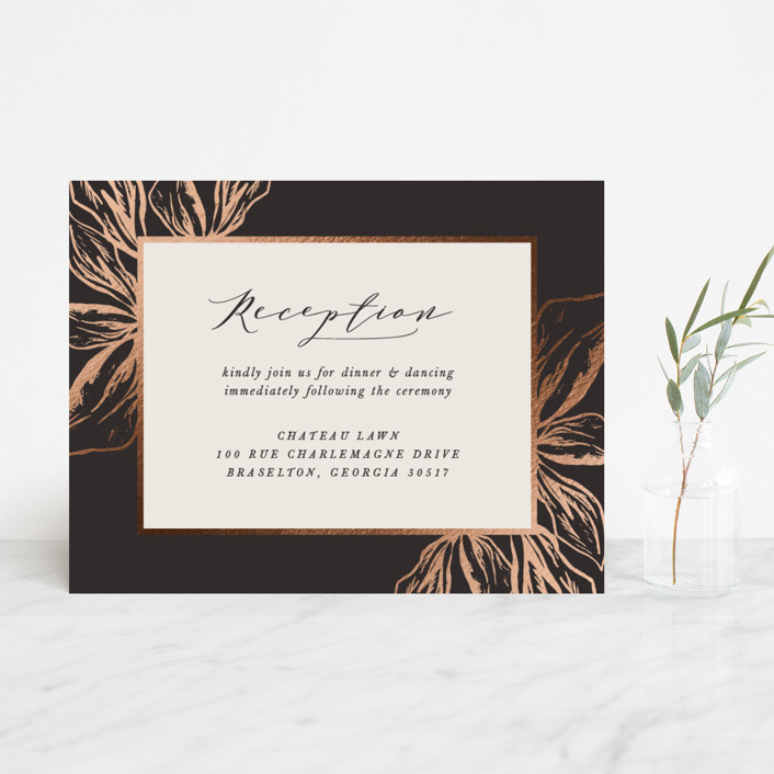 """""""Forevermore"""" - Rustic Foil-pressed Reception Cards in Midnight by Melinda Denison."""