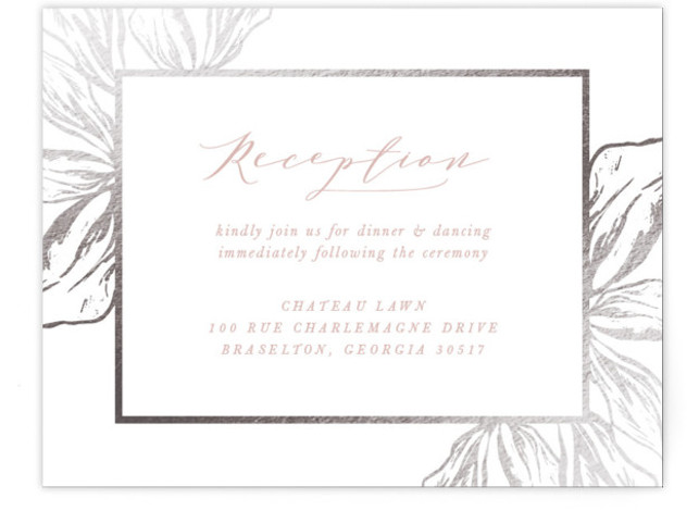 This is a portrait botanical, rustic, pink Reception Cards by Melinda Denison called Forevermore with Foil Pressed printing on Signature in Card Flat Card format. This wedding invitation features organic foiled leaves surrounding your invitation details