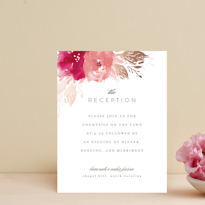 """""""painted bouquet"""" - Foil-pressed Reception Cards in Rose by Karidy Walker."""