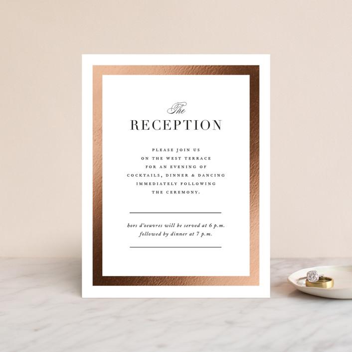 """Deluxe"" - Foil-pressed Reception Cards in Tuxedo by Jennifer Postorino."