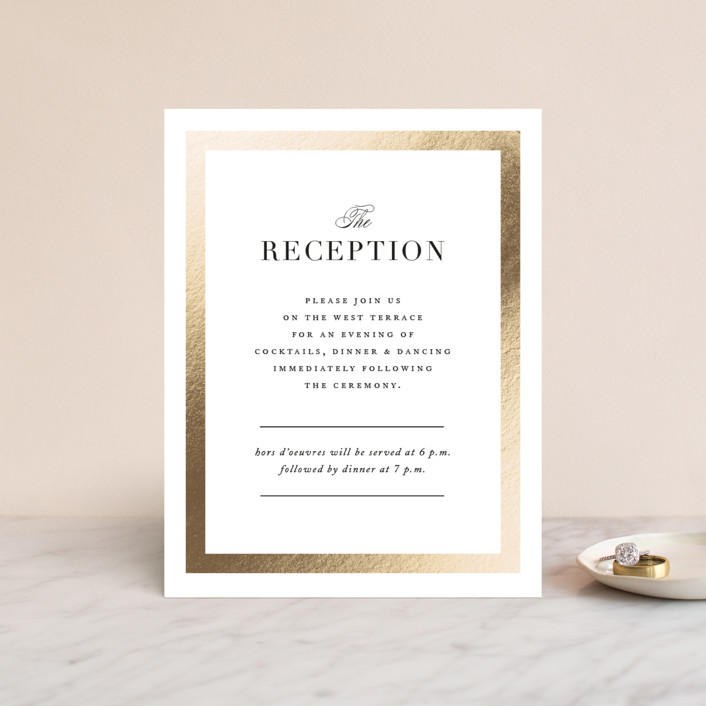 """Deluxe"" - Foil-pressed Reception Cards in Tuxedo by Jennifer Postorino."